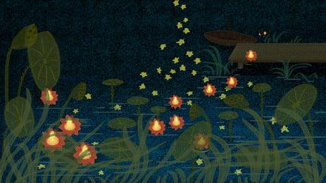 Trung nguyên liên hoan lotus pond Đèn Lá Sen Hình Nền