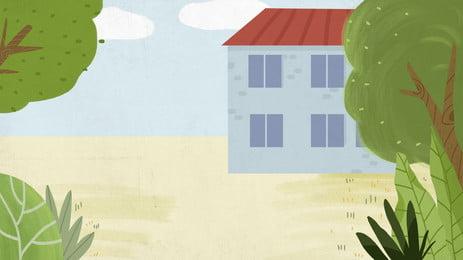 一棟藍色小樓卡通背景, 藍色, 小樓, 草地 背景圖片