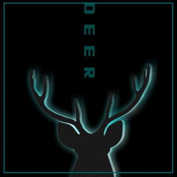 すべての黒のクールなハンサムな光の効果シンプルな鹿の頭の背景 , 黒, ブルー, 夢 背景画像