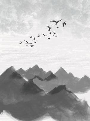 Phong cách cổ đại mực nước giang nam cảnh màu Phong Cách Trung Hình Nền
