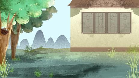 القرية القديمة خلفية التصميم, النمط الصيني, العصور القديمة, النمط القديم صور الخلفية