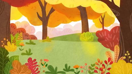 Thiết kế nền rừng mùa thu ấm áp Mùa Thu Ánh Hình Nền