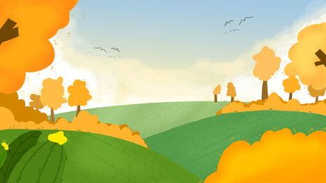 가을 노랑 나무 남쪽 비행 제비 만화 배경, 가을, 노란 잎, 제비 배경 이미지