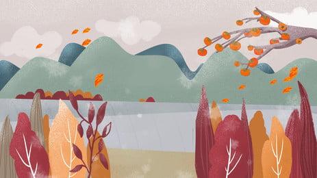 Thiết kế nền của cây hồng trên bờ sông băng giá Sương Giá Thuật Hình Nền