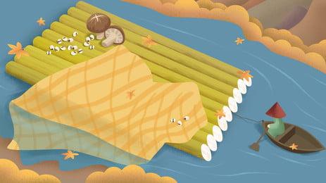 सुंदर और शरद ऋतु नदी बांस नाव पृष्ठभूमि डिजाइन, चित्रित पृष्ठभूमि, ताजा और सुंदर, पतझड़ पृष्ठभूमि छवि