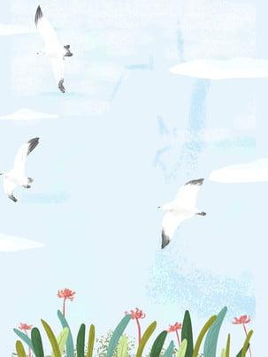唯美清新藍天飛鶴背景素材 , 唯美, 清新, 藍天 背景圖片