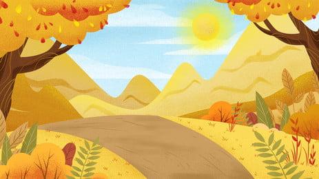 schöner herbstholzweg weites gebirgshintergrunddesign, Schön, Herbst, Weit Berg Hintergrundbild