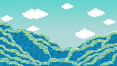 美しい青空と海洋のピクセル化の背景デザイン Pspd背景 雲の輪 ピクセル化デザイン 背景画像