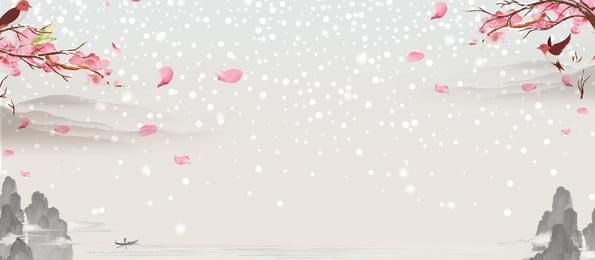 美しい中国風桃の花の風景の背景, 美しい背景, 中国風の背景, 桃の花 背景画像
