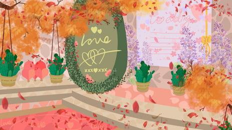 Fundo de ilustração linda cena casamento sonho Cena Do Casamento Imagem Do Plano De Fundo
