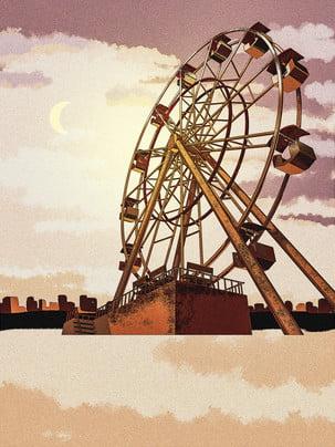 唯美摩天輪天空城市背景設計 , 唯美, 手繪, 城市背景 背景圖片