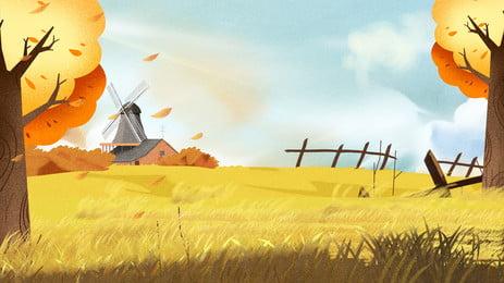 सुंदर गोल्डन शरद ऋतु गेहूं के खेत पृष्ठभूमि डिजाइन, सुंदर, गोल्डन शरद ऋतु की पृष्ठभूमि, गेहूं के खेत की पृष्ठभूमि पृष्ठभूमि छवि