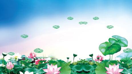 美しい蓮の葉の背景デザイン, 美しい, 新鮮な, 手描きの背景 背景画像