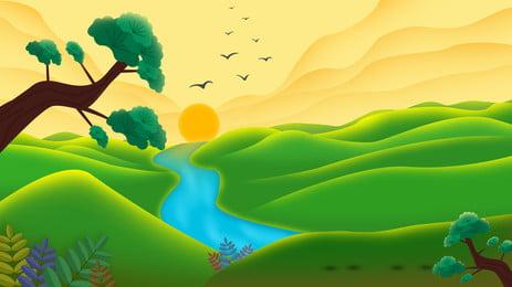 सुंदर सूर्यास्त पर्वत चोटियों विज्ञापन पृष्ठभूमि, विज्ञापन की पृष्ठभूमि, पहाड़ की चोटी, ढाल पृष्ठभूमि छवि
