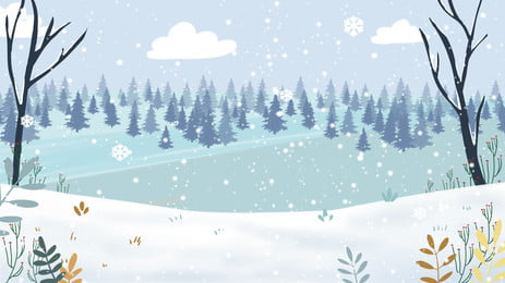 beautiful winter forest snow background material, Beautiful, Winter Background, Winter Background image
