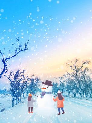 唯美冬季雪地堆雪人背景設計 , 夢幻, 唯美, 冬季背景 背景圖片