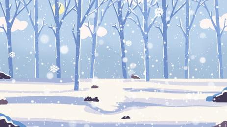 美麗冬季樹林雪景設計, 美麗, 冬天, 冬季 背景圖片