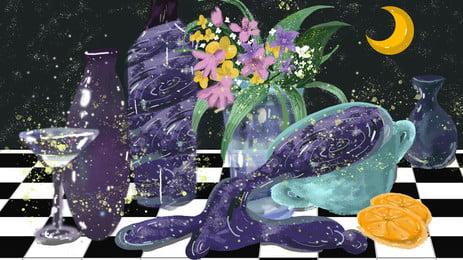 黑白桌布的花瓶和酒杯卡通背景, 花瓶, 花束, 酒杯 背景圖片