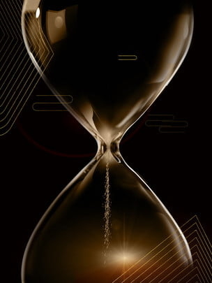 black gold background hourglass smart technology material , Black Gold, Hourglass, Line Background image