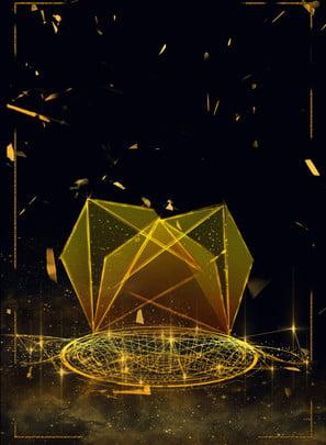 black gold polygon square technology background material , Polygonal Gold Grid, Square Technology, Background Material Background image