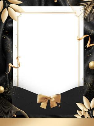 design de fond invitation style or noir , Fond Dor Noir, Feuilles, Bow Image d'arrière-plan