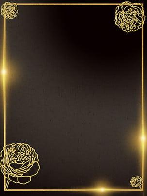 黑色花紋紋理邊框背景 , 黑色紋理背景, 金色邊框, 花紋背景 背景圖片