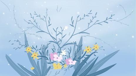 ブルーの美しい葉植物の背景デザイン ブルー 美しい 夢 背景画像