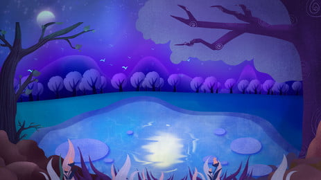 Blue Beautiful Water Pool Moon Background Design, Blue, Beautiful, Trees, Background image