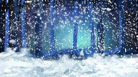 藍色奇幻森林雪地背景設計, 藍色, 奇幻背景, 森林背景 背景圖片