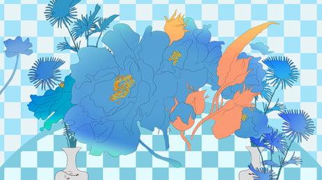 青い花の漫画の背景 ブルー 花 葉っぱ 漫画 バックグラウンド 広場 ブルー 花 葉っぱ 背景画像