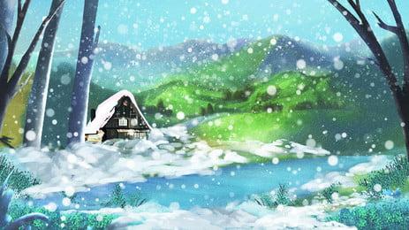 青い清新林の川の下の大雪の背景デザイン Pspd背景 アニメーションの背景 大雪 背景画像