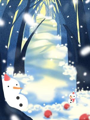 블루 로맨틱 크리스마스 눈사람 선전 보드 배경 , 크리스마스 배경, 블루, 아름다운 배경 이미지
