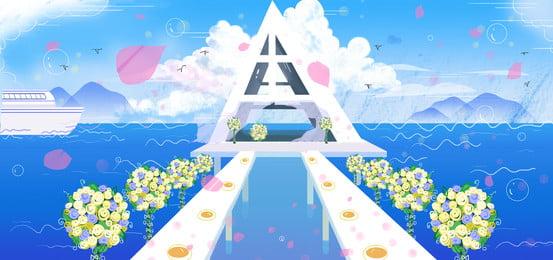 ब्लू रोमांटिक समुद्र शादी की पृष्ठभूमि डिजाइन, नीला, रोमांटिक, शादी का मौसम पृष्ठभूमि छवि