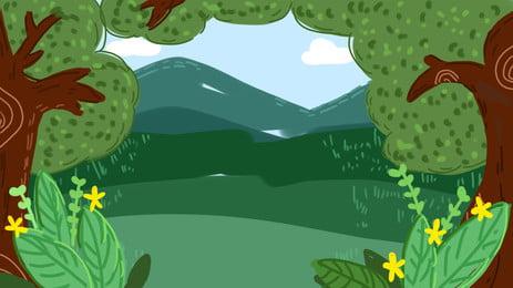 藍天樹木簡約春季森林背景設計, 藍天, 插畫, 樹木 背景圖片