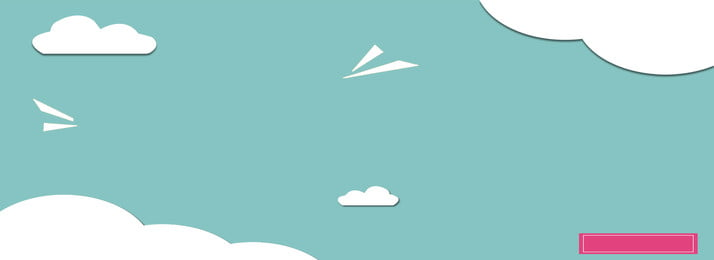 青い空、白い雲、漫画バナーの背景 手描き 青い空 クラウド 背景画像
