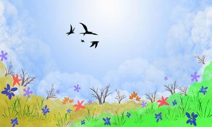 Bầu trời xanh mây trắng nền cây Bầu Trời Xanh Hình Nền