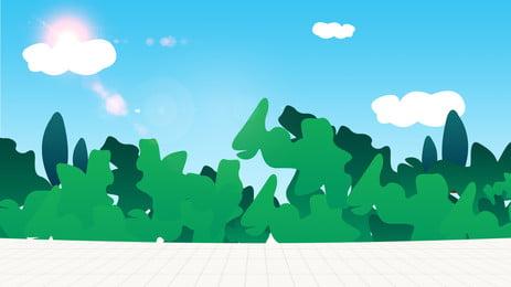 藍天樹林背景素材 藍天 太陽 雲朵背景圖庫