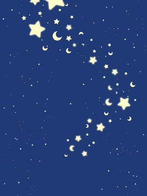 Blue Stars Background Material Sky,simple,beautiful,dream,moon,simple,painted Background,general Background,fresh, Background, Invited, Background, Background image