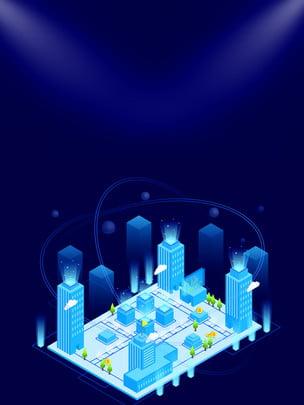 藍色立體科技背景設計 , 藍色, 模型, 建築 背景圖片