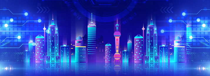 latar belakang bandar pintar berteknologi biru, Bandar Teknologi, Bandar Pintar, Latar Belakang Sepanduk imej latar belakang