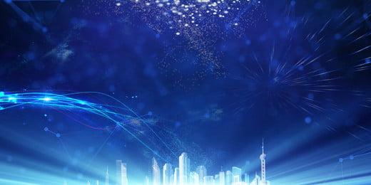 ブルーテクノロジーセンスライン新年パーティーの背景素材, ブルー, テクノロジー, 行 背景画像