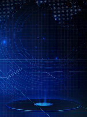藍色科技世界地圖商務背景 , 藍色, 漸變, 商務背景 背景圖片