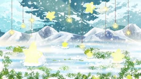 青い冬の光雪背景デザイン スノーフレーク ブルー ブリザード 背景画像