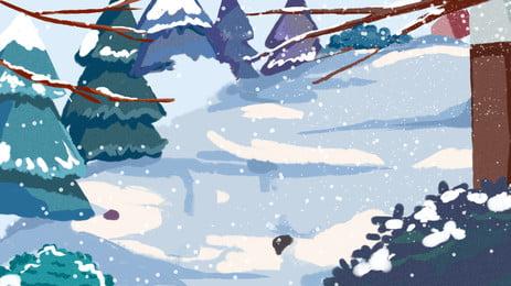 ब्लू विंटर बर्फीली जंगल पृष्ठभूमि डिजाइन, बर्फ का भारी त्यौहार, पारंपरिक सौर शब्द, प्रकाश पर्व पृष्ठभूमि छवि