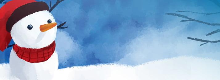 ब्लू विंटर संक्रांति स्नोमैन पृष्ठभूमि, सर्दी, स्नोमैन, हाथ खींचा हुआ पृष्ठभूमि छवि