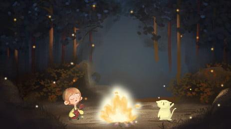 ब्वॉय कार्टून जंगल में गिटार गाते हुए, लकड़ी, गिटार बजाना, गाना गाना पृष्ठभूमि छवि