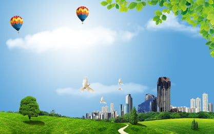 चमकदार धूप परिदृश्य सभ्य शहर पृष्ठभूमि सामग्री, सुंदर घर, हरा शहर, कम कार्बन पृष्ठभूमि छवि
