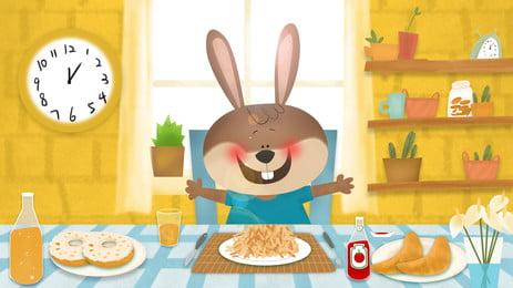 sớm hơn con thỏ nhỏ ăn dinh dưỡng của nền hoạt hình, Hoạt Hình, Bữa Sáng, Thức ăn Ngon Ảnh nền