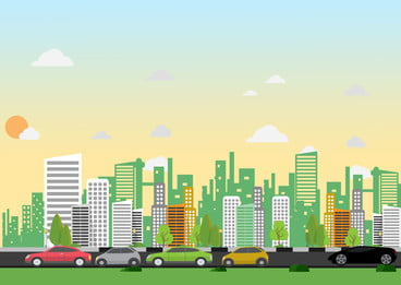 car cartoon background driving on city road, High Building, City, Car Background image