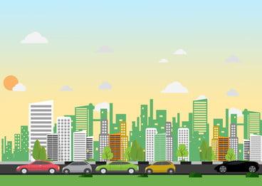 車の漫画の背景街道を運転, 高層ビル, 市, 車 背景画像